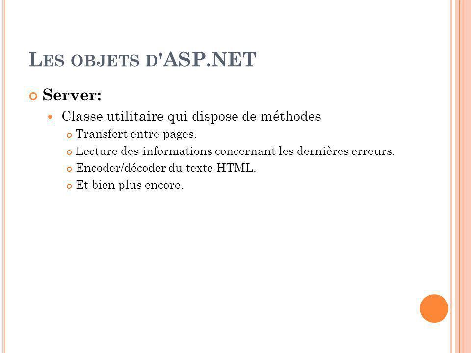 L ES OBJETS D ASP.NET Server: Classe utilitaire qui dispose de méthodes Transfert entre pages.