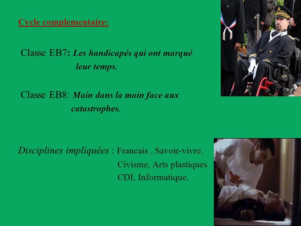 Cycle complementaire: Classe EB7: Les handicapés qui ont marqué leur temps. Classe EB8: Main dans la main face aux catastrophes. Disciplines impliquée