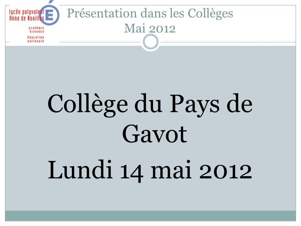 Présentation dans les Collèges Mai 2012 Collège du Pays de Gavot Lundi 14 mai 2012