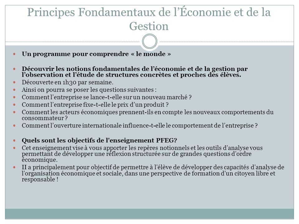 Principes Fondamentaux de lÉconomie et de la Gestion Un programme pour comprendre « le monde » Découvrir les notions fondamentales de léconomie et de