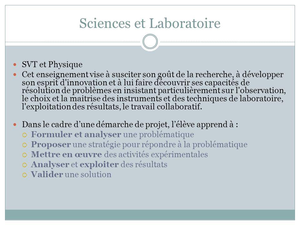 Sciences et Laboratoire SVT et Physique Cet enseignement vise à susciter son goût de la recherche, à développer son esprit d'innovation et à lui faire