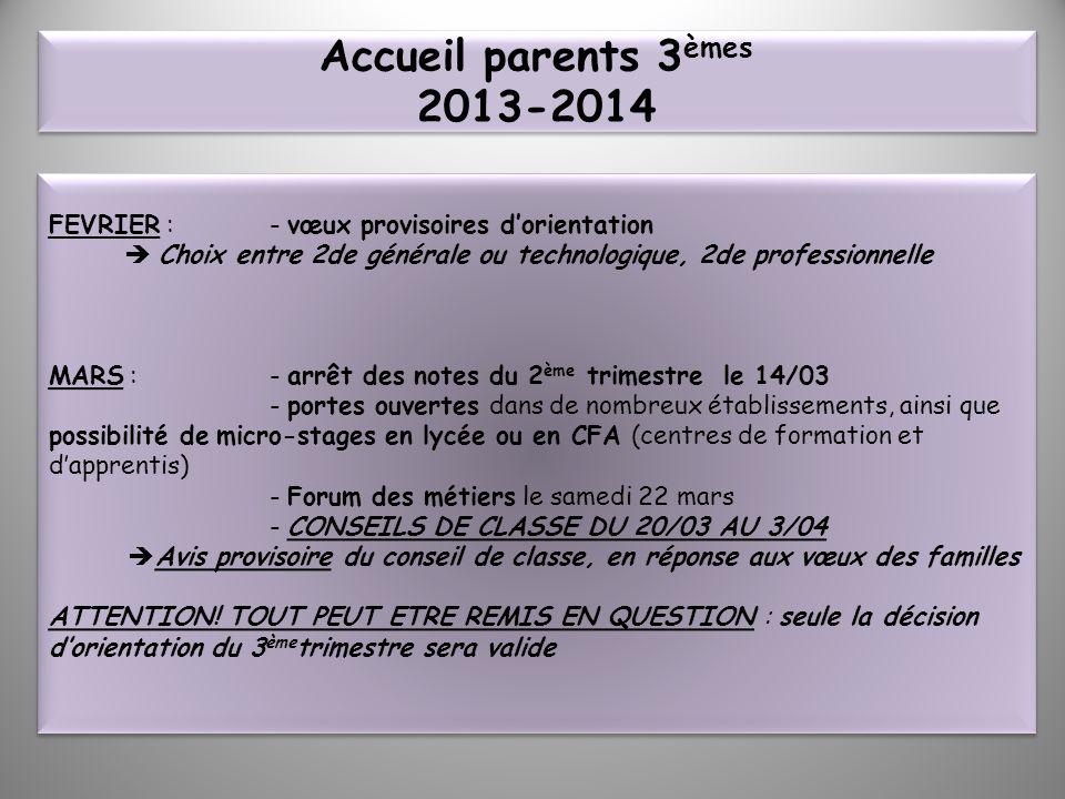 Accueil parents 3 èmes 2013-2014 FEVRIER : - vœux provisoires dorientation Choix entre 2de générale ou technologique, 2de professionnelle MARS : - arr