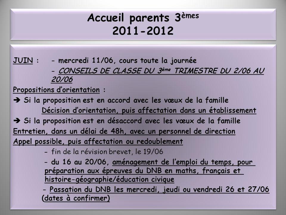 Accueil parents 3 èmes 2011-2012 JUIN : - mercredi 11/06, cours toute la journée - CONSEILS DE CLASSE DU 3 ème TRIMESTRE DU 2/06 AU 20/06 Propositions