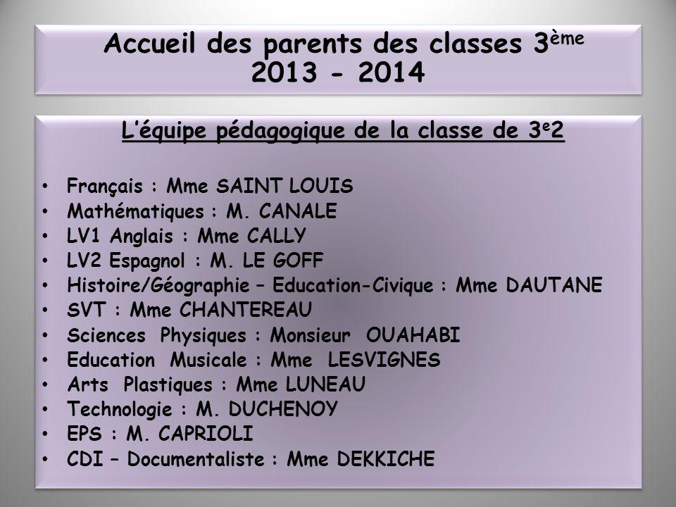 Léquipe pédagogique de la classe de 3 e 2 Français : Mme SAINT LOUIS Mathématiques : M. CANALE LV1 Anglais : Mme CALLY LV2 Espagnol : M. LE GOFF Histo