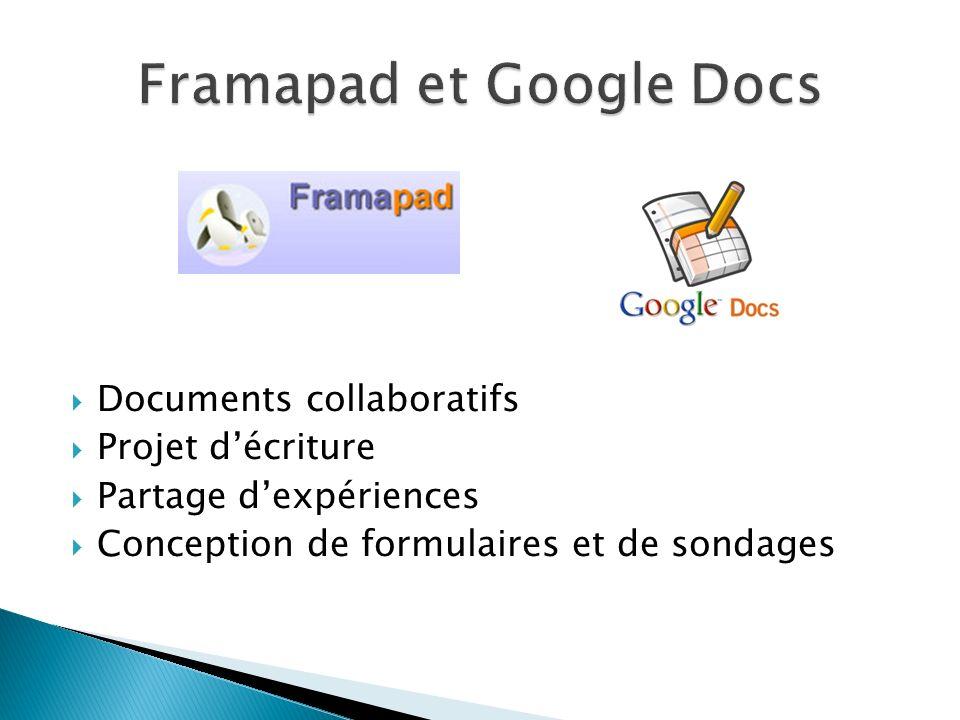 Documents collaboratifs Projet décriture Partage dexpériences Conception de formulaires et de sondages
