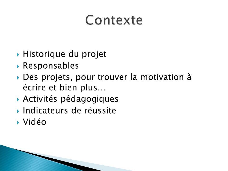 Historique du projet Responsables Des projets, pour trouver la motivation à écrire et bien plus… Activités pédagogiques Indicateurs de réussite Vidéo