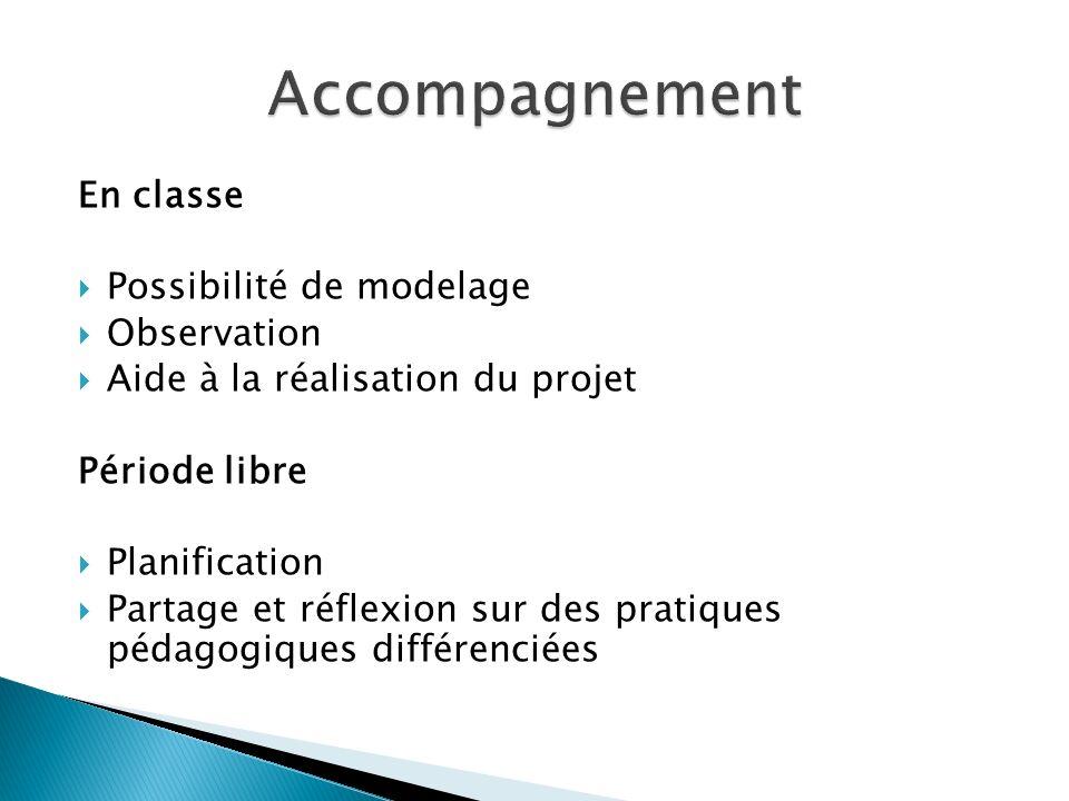 En classe Possibilité de modelage Observation Aide à la réalisation du projet Période libre Planification Partage et réflexion sur des pratiques pédag