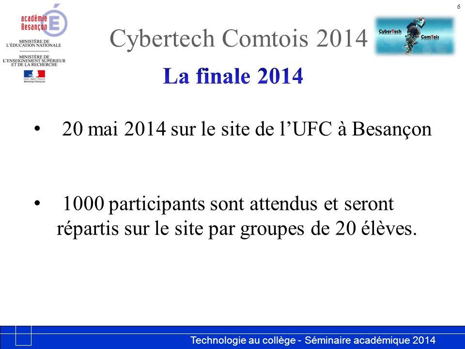 Technologie au collège - Séminaire académique 2014 Académie de Besançon Cybertech Comtois 2014 6 20 mai 2014 sur le site de lUFC à Besançon 1000 participants sont attendus et seront répartis sur le site par groupes de 20 élèves.