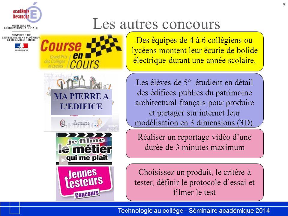 Technologie au collège - Séminaire académique 2014 Académie de Besançon Les autres concours 8 Des équipes de 4 à 6 collégiens ou lycéens montent leur écurie de bolide électrique durant une année scolaire.