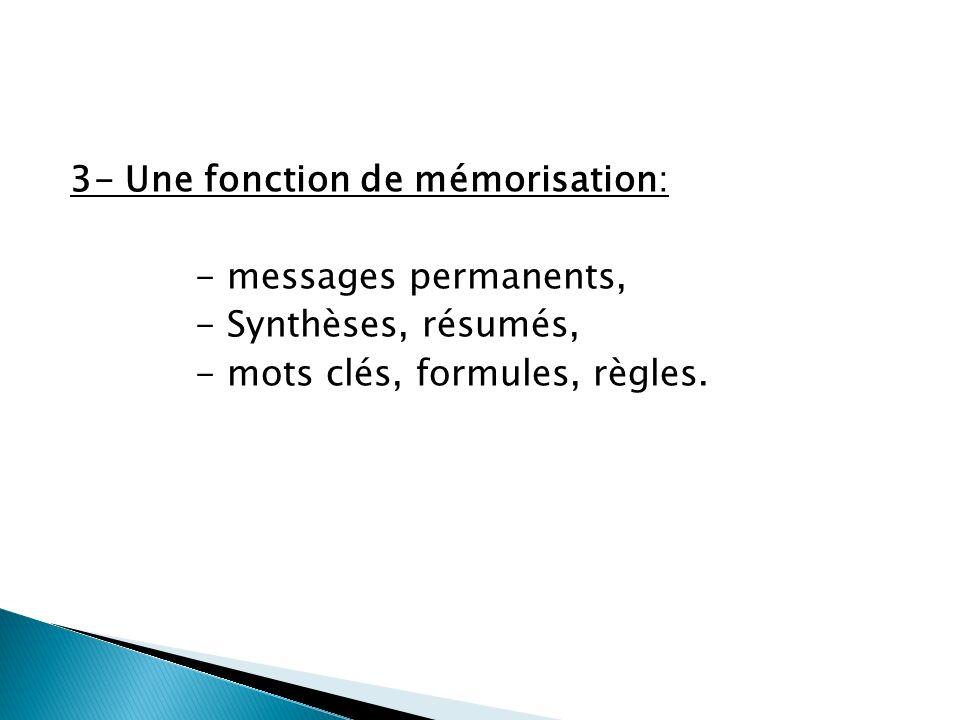 3- Une fonction de mémorisation: - messages permanents, - Synthèses, résumés, - mots clés, formules, règles.