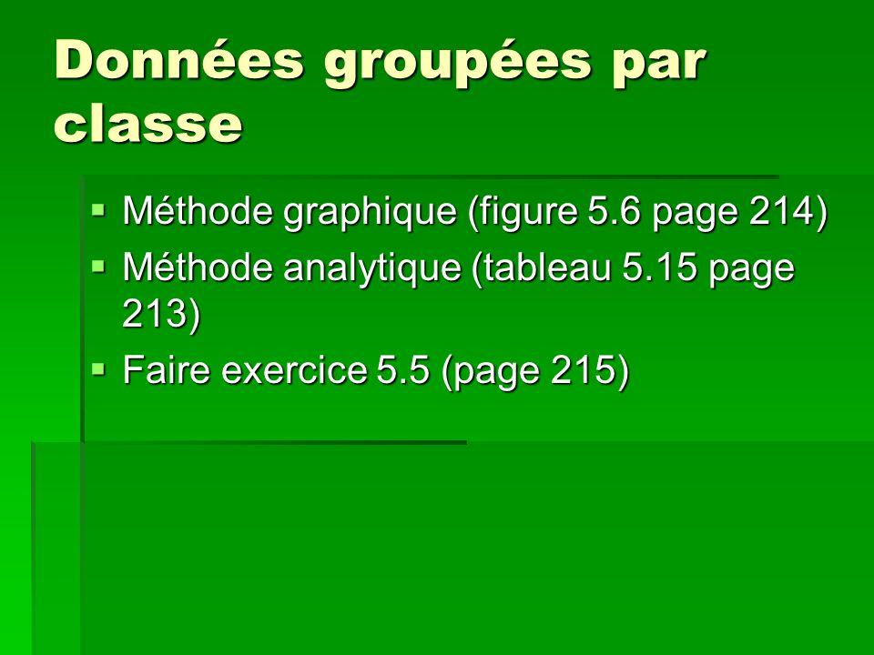 Données groupées par classe Méthode graphique (figure 5.6 page 214) Méthode analytique (tableau 5.15 page 213) Faire exercice 5.5 (page 215)