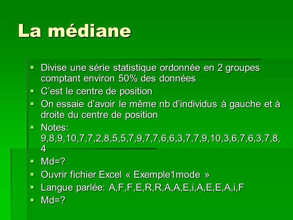 La médiane Divise une série statistique ordonnée en 2 groupes comptant environ 50% des données Divise une série statistique ordonnée en 2 groupes comptant environ 50% des données Cest le centre de position Cest le centre de position On essaie davoir le même nb dindividus à gauche et à droite du centre de position On essaie davoir le même nb dindividus à gauche et à droite du centre de position Notes: 9,8,9,10,7,7,2,8,5,5,7,9,7,7,6,6,3,7,7,9,10,3,6,7,6,3,7,8, 4 Notes: 9,8,9,10,7,7,2,8,5,5,7,9,7,7,6,6,3,7,7,9,10,3,6,7,6,3,7,8, 4 Md=.