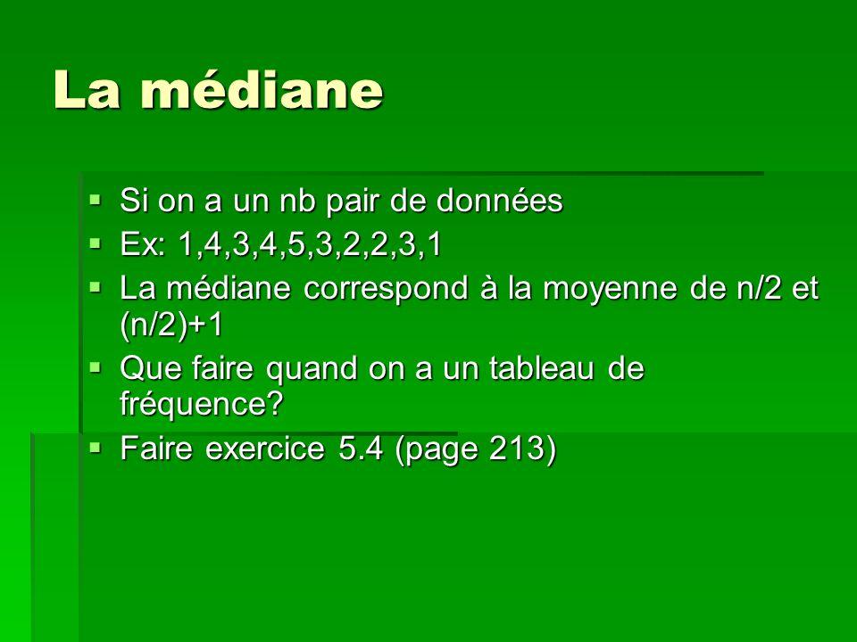 La médiane Si on a un nb pair de données Ex: 1,4,3,4,5,3,2,2,3,1 La médiane correspond à la moyenne de n/2 et (n/2)+1 Que faire quand on a un tableau de fréquence.