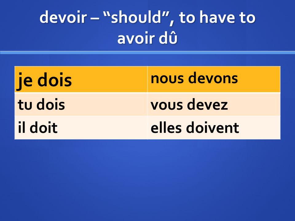 Recevoir = to receive (avoir) p.p.