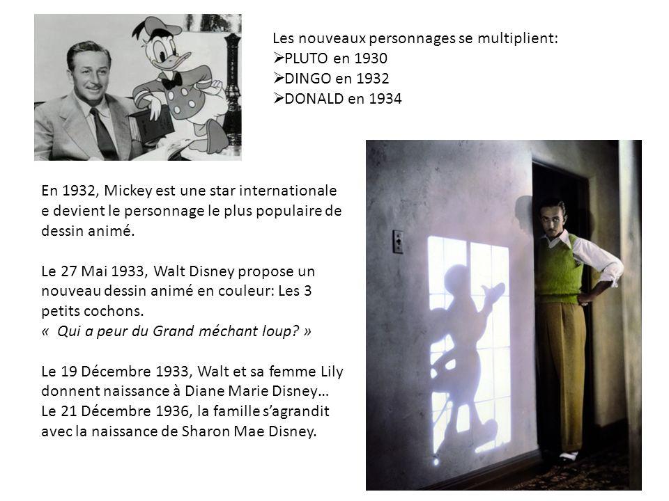 Les nouveaux personnages se multiplient: PLUTO en 1930 DINGO en 1932 DONALD en 1934 En 1932, Mickey est une star internationale e devient le personnag