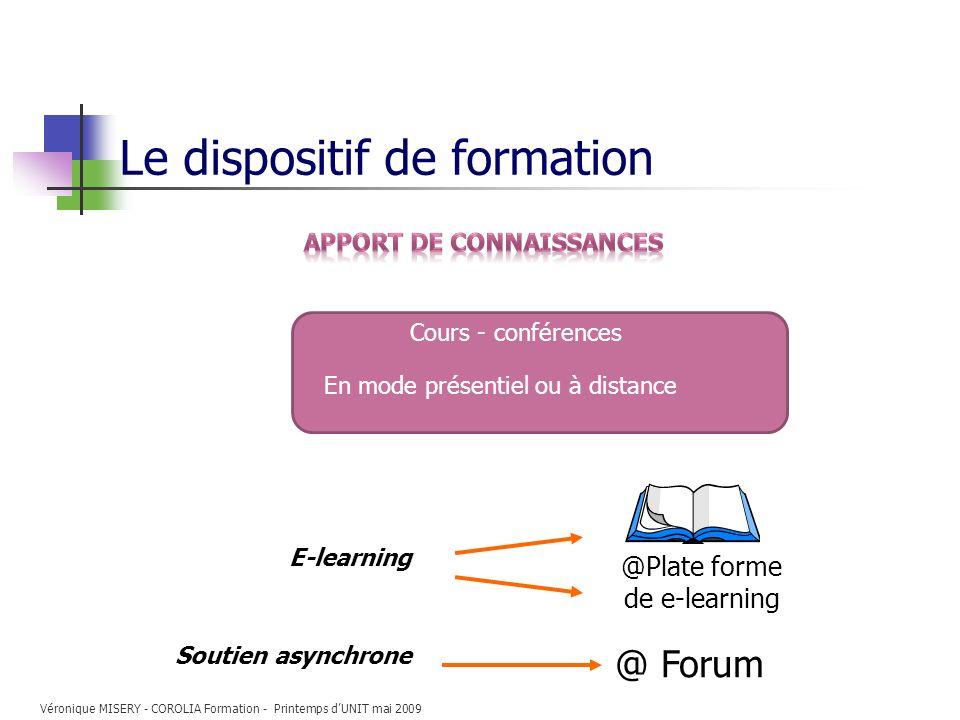 Le dispositif de formation E-learning @Plate forme de e-learning Cours - conférences En mode présentiel ou à distance Soutien asynchrone @ Forum Véron