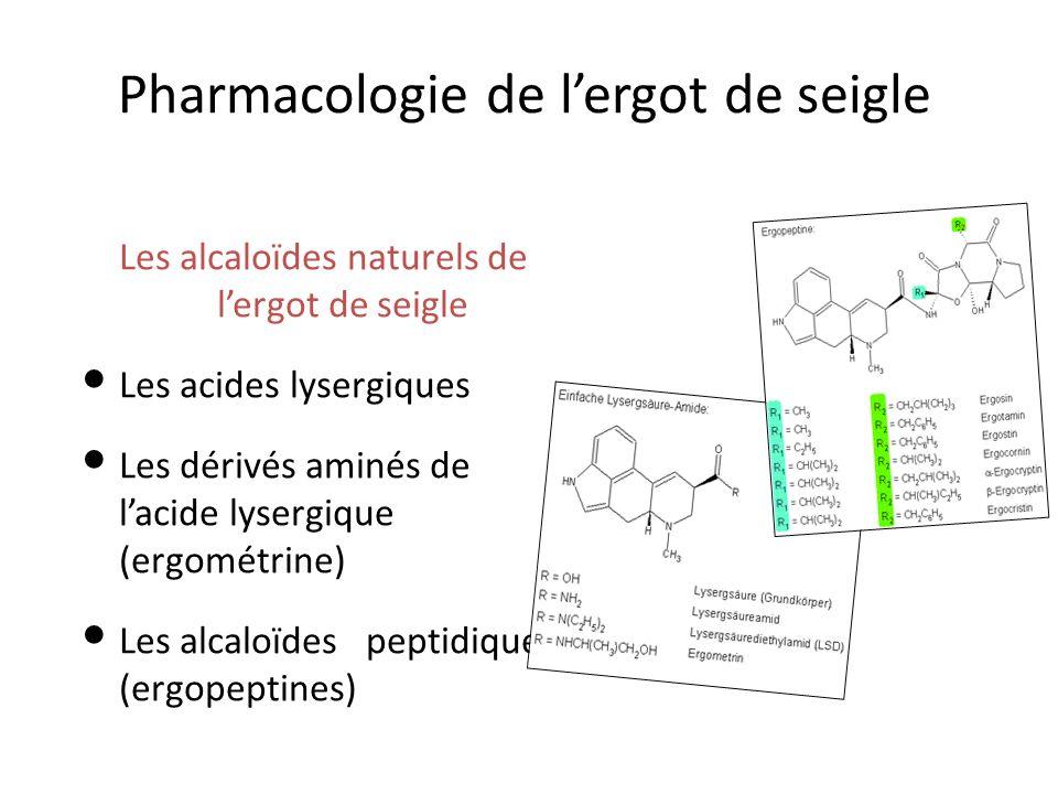 Pharmacologie de lergot de seigle Les alcaloïdes naturels de lergot de seigle Les acides lysergiques Les dérivés aminés de lacide lysergique (ergométrine) Les alcaloïdes peptidiques (ergopeptines)