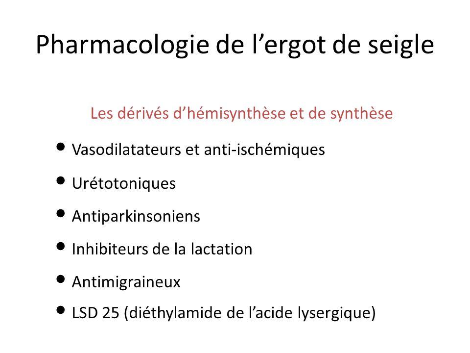 Pharmacologie de lergot de seigle Les dérivés dhémisynthèse et de synthèse Vasodilatateurs et anti-ischémiques Urétotoniques Antiparkinsoniens Inhibiteurs de la lactation Antimigraineux LSD 25 (diéthylamide de lacide lysergique)