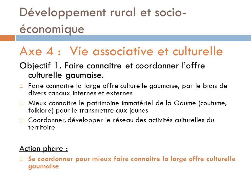 Développement rural et socio- économique Axe 4 :Vie associative et culturelle Objectif 1.