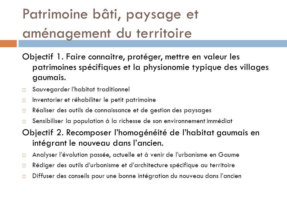 Patrimoine bâti, paysage et aménagement du territoire Objectif 1.