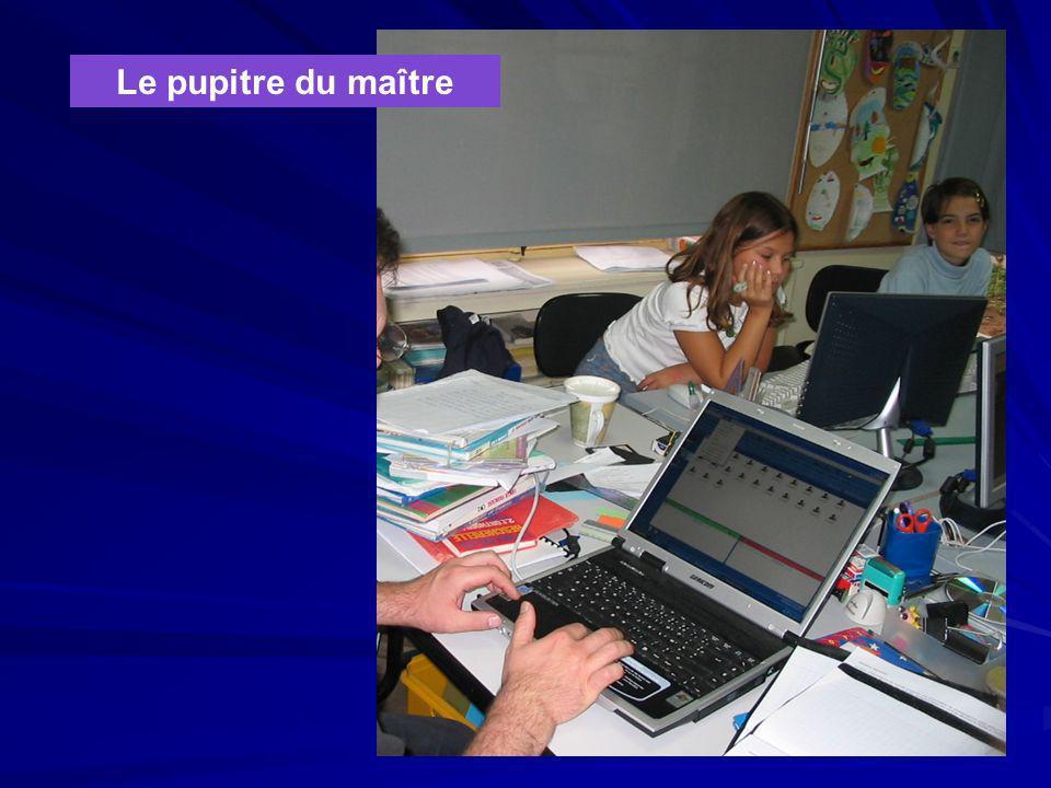 Le concept professeur L'ensemble des postes est piloté par le professeur à travers un ordinateur maître auquel sont reliés les périphériques, vidéo pr