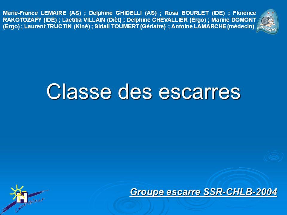 Classe des escarres Groupe escarre SSR-CHLB-2004 Marie-France LEMAIRE (AS) ; Delphine GHIDELLI (AS) ; Rosa BOURLET (IDE) ; Florence RAKOTOZAFY (IDE) ;