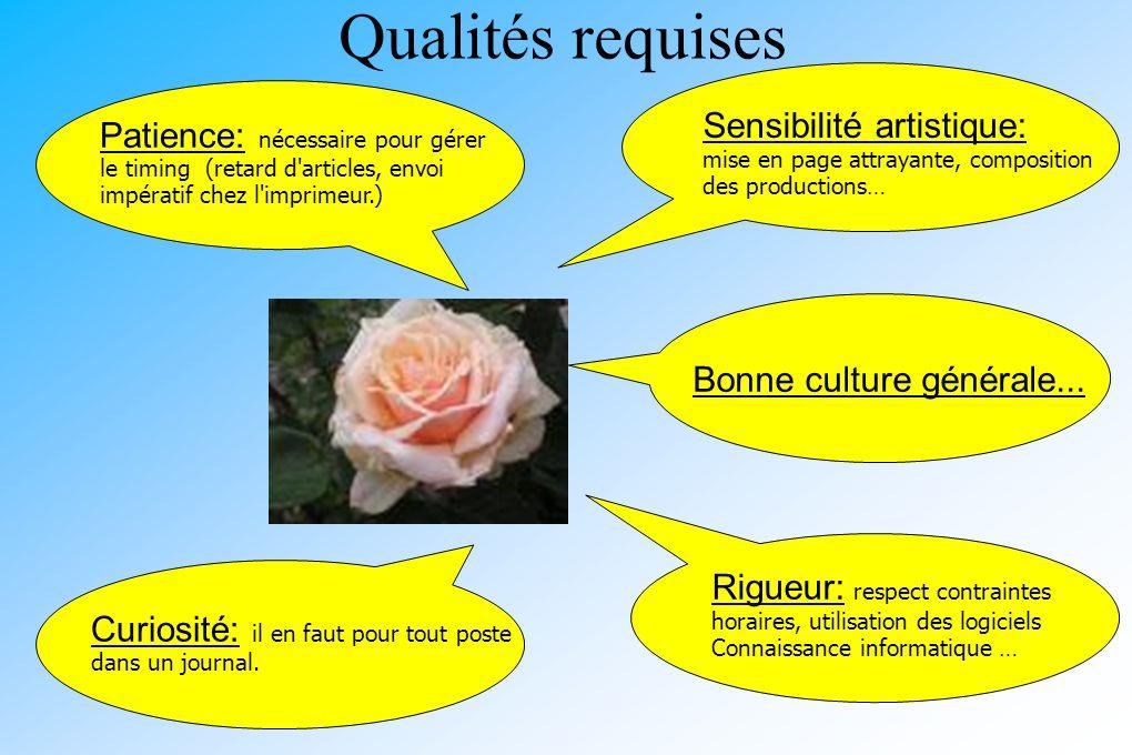 Qualités requises Bonne culture générale... Patience: nécessaire pour gérer le timing (retard d'articles, envoi impératif chez l'imprimeur.) Sensibili