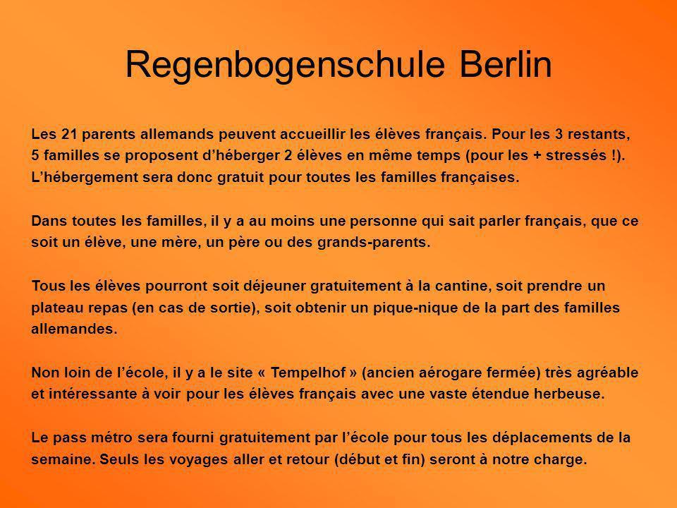 Regenbogenschule Berlin Les 21 parents allemands peuvent accueillir les élèves français. Pour les 3 restants, 5 familles se proposent dhéberger 2 élèv