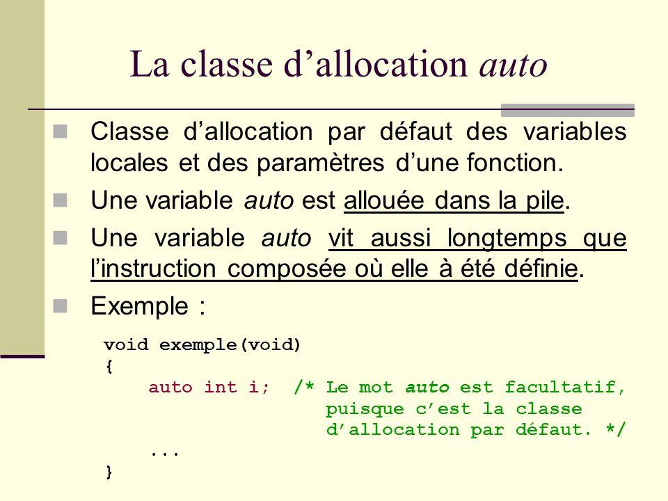 Les 4 classes dallocation du C auto : Classe dune variable locale placée dans la pile (stack). register : Classe dune variable locale placée dans un r