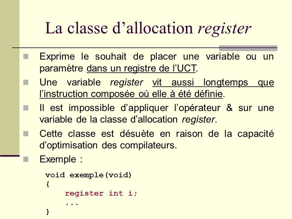 La classe dallocation auto Classe dallocation par défaut des variables locales et des paramètres dune fonction. Une variable auto est allouée dans la