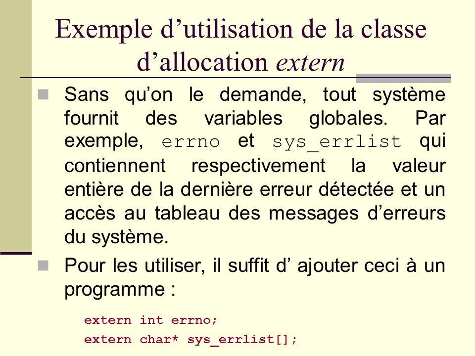 La classe dallocation extern Une variable extern est toujours allouée dans le data segment dès le départ du programme. Si elle nest pas initialisée, l