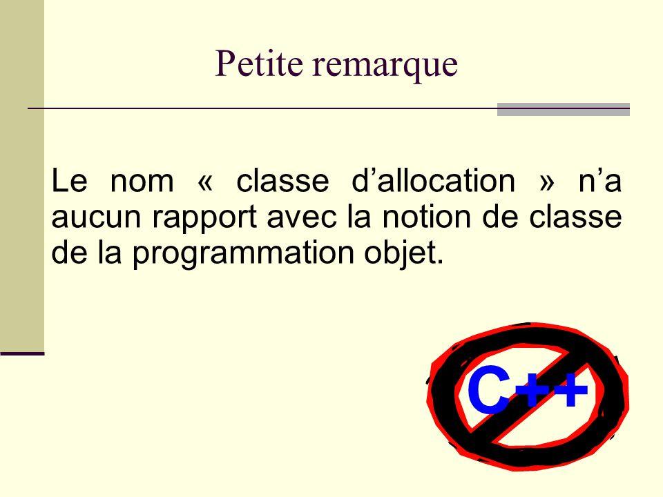 Quest-ce quune classe dallocation? Une classe dallocation détermine la portée et la durée de vie dun objet ou dune fonction.