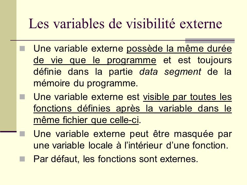 Quest-ce que la portée dune variable ? Toute variable en C est soit locale ou externe (globale). Une variable possède une visibilité externe si elle e