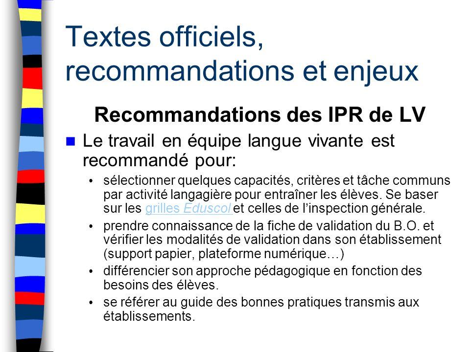 Textes officiels, recommandations et enjeux Recommandations des IPR de LV Le travail en équipe langue vivante est recommandé pour: sélectionner quelqu