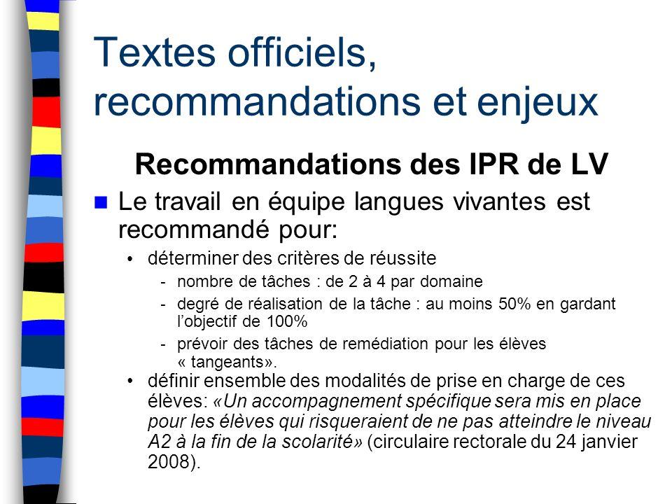 Textes officiels, recommandations et enjeux Recommandations des IPR de LV Le travail en équipe langues vivantes est recommandé pour: déterminer des cr