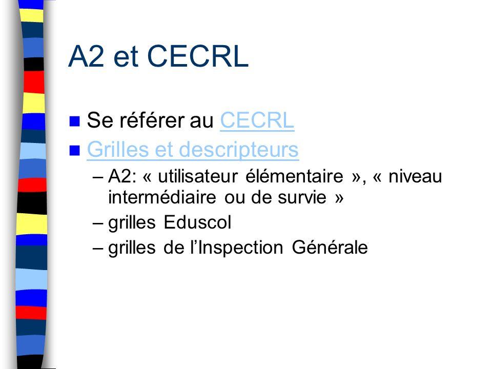 A2 et CECRL Se référer au CECRLCECRL Grilles et descripteurs –A2: « utilisateur élémentaire », « niveau intermédiaire ou de survie » –grilles Eduscol