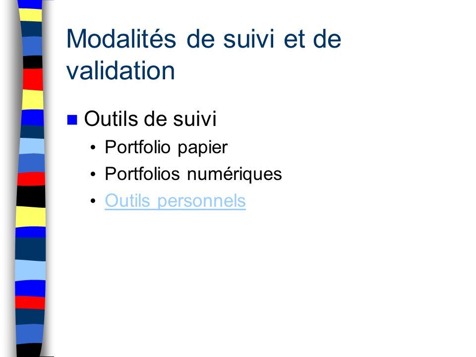 Modalités de suivi et de validation Outils de suivi Portfolio papier Portfolios numériques Outils personnels