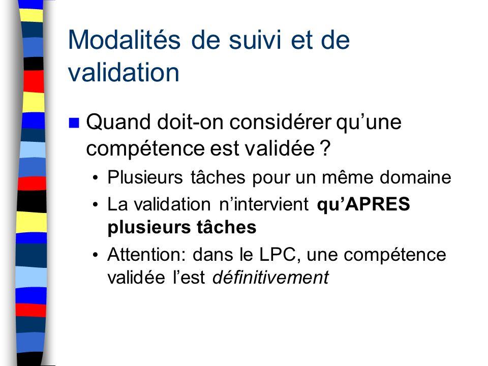 Modalités de suivi et de validation Quand doit-on considérer quune compétence est validée ? Plusieurs tâches pour un même domaine La validation ninter