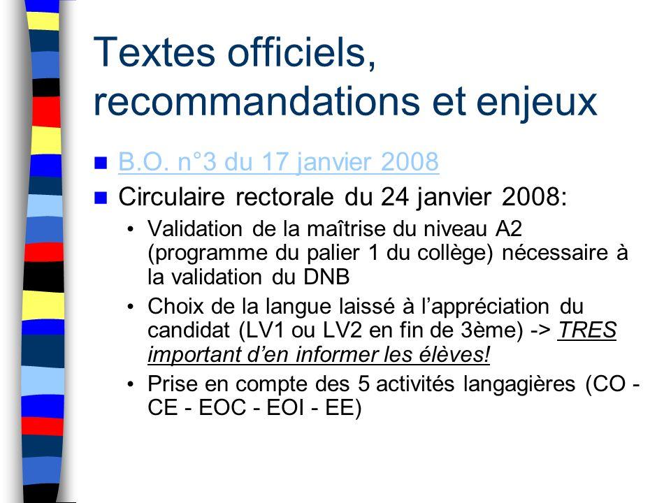 Textes officiels, recommandations et enjeux B.O. n°3 du 17 janvier 2008 Circulaire rectorale du 24 janvier 2008: Validation de la maîtrise du niveau A