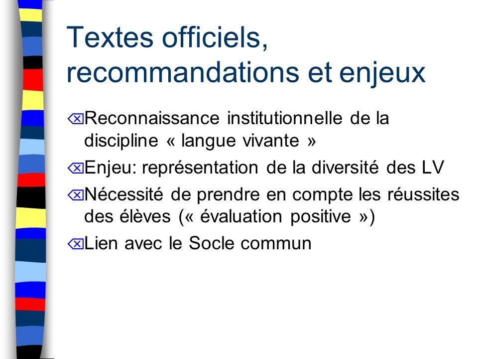 Textes officiels, recommandations et enjeux Reconnaissance institutionnelle de la discipline « langue vivante » Enjeu: représentation de la diversité