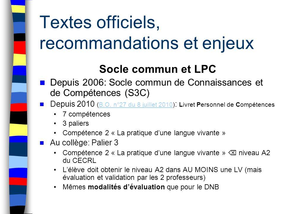 Textes officiels, recommandations et enjeux Socle commun et LPC Depuis 2006: Socle commun de Connaissances et de Compétences (S3C) Depuis 2010 (B.O. n