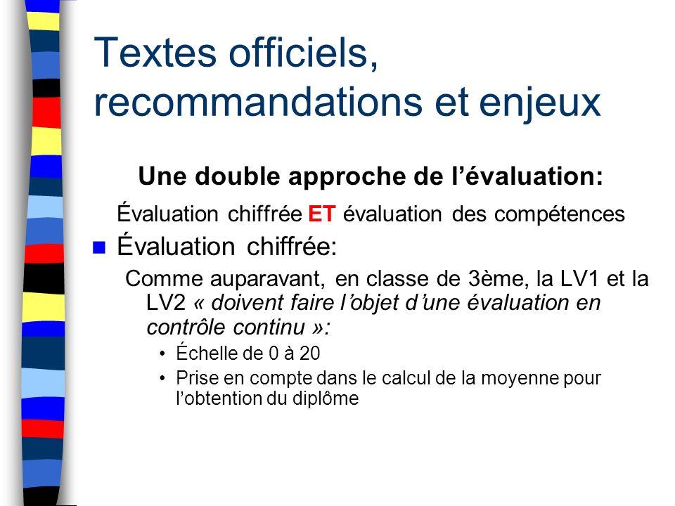 Textes officiels, recommandations et enjeux Une double approche de lévaluation: Évaluation chiffrée ET évaluation des compétences Évaluation chiffrée: