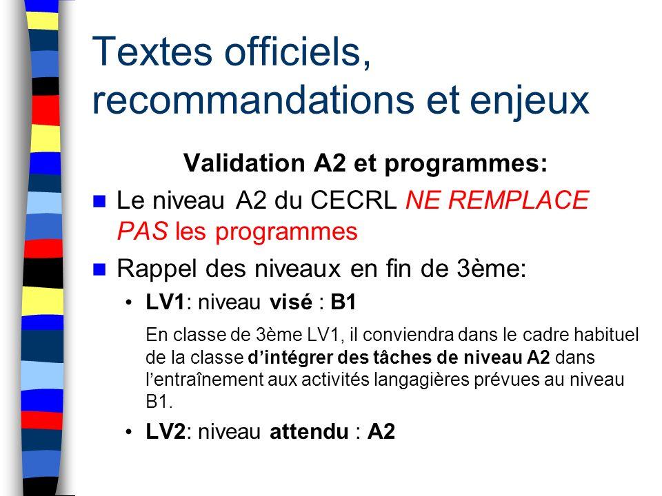 Textes officiels, recommandations et enjeux Validation A2 et programmes: Le niveau A2 du CECRL NE REMPLACE PAS les programmes Rappel des niveaux en fi
