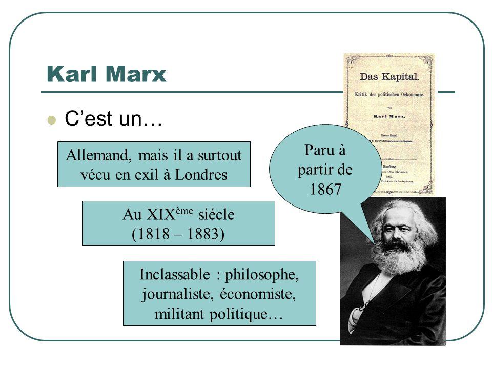 Karl Marx Cest un… Nationalité ? Profession ? Epoque ? Allemand, mais il a surtout vécu en exil à Londres Au XIX ème siécle (1818 – 1883) Inclassable