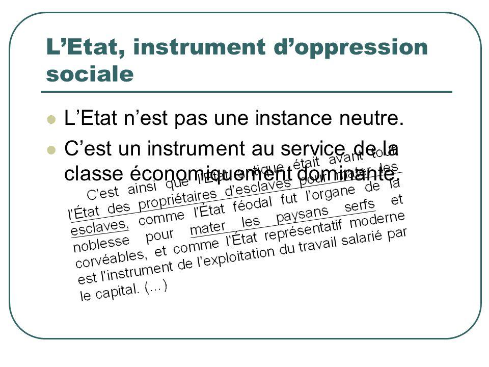 LEtat, instrument doppression sociale LEtat nest pas une instance neutre. Cest un instrument au service de la classe économiquement dominante.