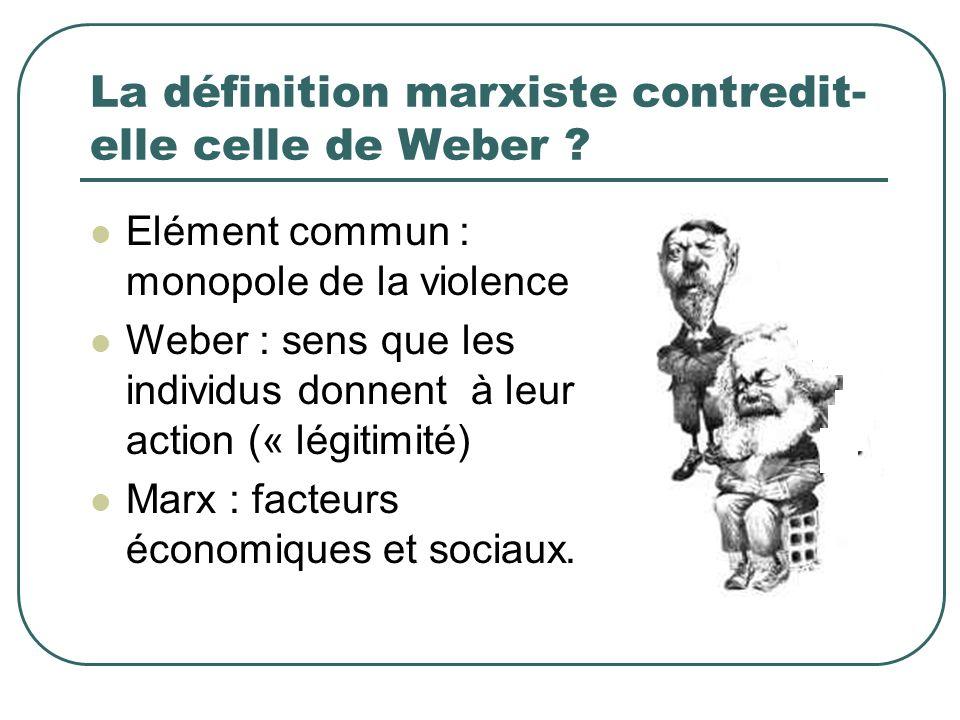 La définition marxiste contredit- elle celle de Weber ? Elément commun : monopole de la violence Weber : sens que les individus donnent à leur action