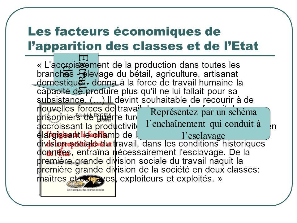 Les facteurs économiques de lapparition des classes et de lEtat Extrait de « L'accroissement de la production dans toutes les branches - élevage du bé