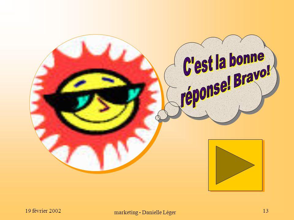 19 février 2002 marketing - Danielle Léger 12 À vous de jouer!!.