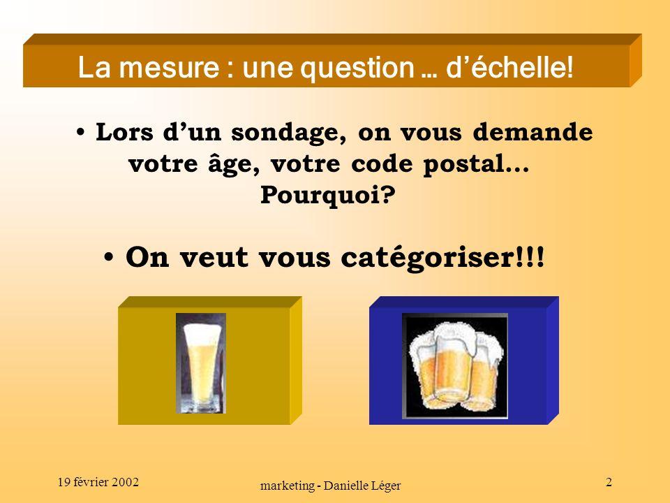 19 février 2002 marketing - Danielle Léger 1 Réalisation : Danielle Léger Travail produit dans le cadre du cours EDU-7492 Réalisation : Danielle Léger Travail produit dans le cadre du cours EDU-7492