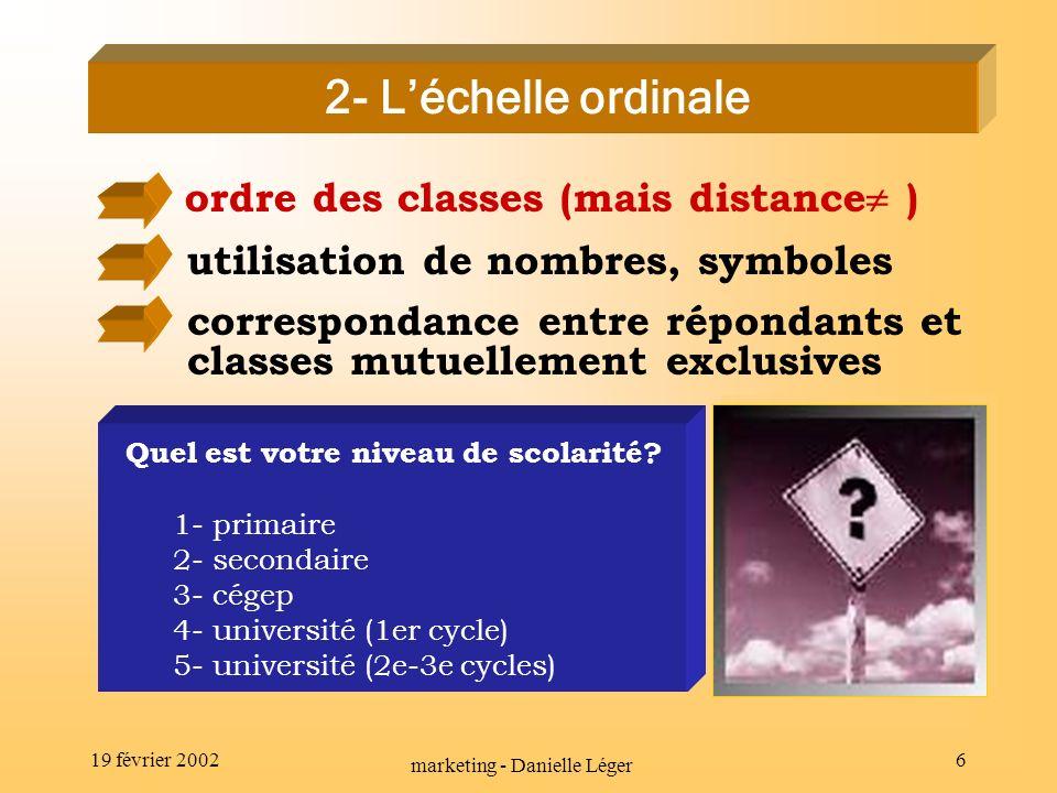 19 février 2002 marketing - Danielle Léger 5 1- Léchelle nominale utilisation de nombres, symboles correspondance entre répondants et classes mutuellement exclusives procédure de classification Êtes-vous...